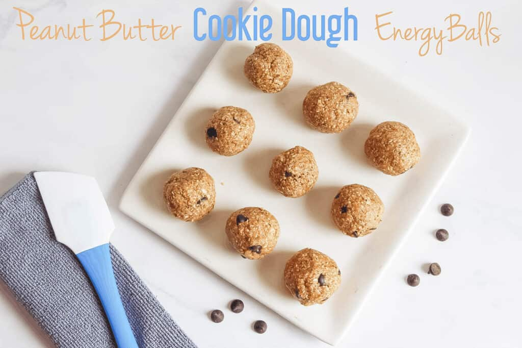 Peanut Butter Cookie Dough Energy Balls; easy and quick no bake snack. Packed with energy filled protein with sweet dessert taste. Gluten free, dairy free and refined sugar free!