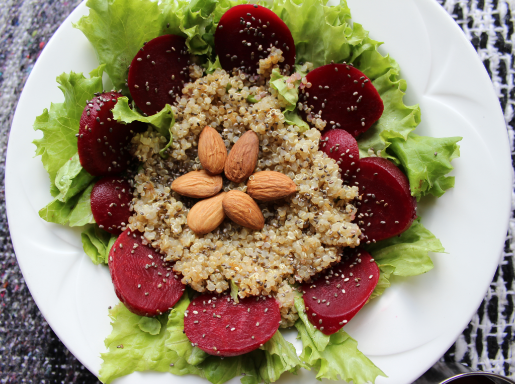 Beet and Quinoa Summer Salad; fresh crunchy and sweet salad packed with protein and healthy grains. Vegan, Dairy Free, Dairy Free and refined sugar free!