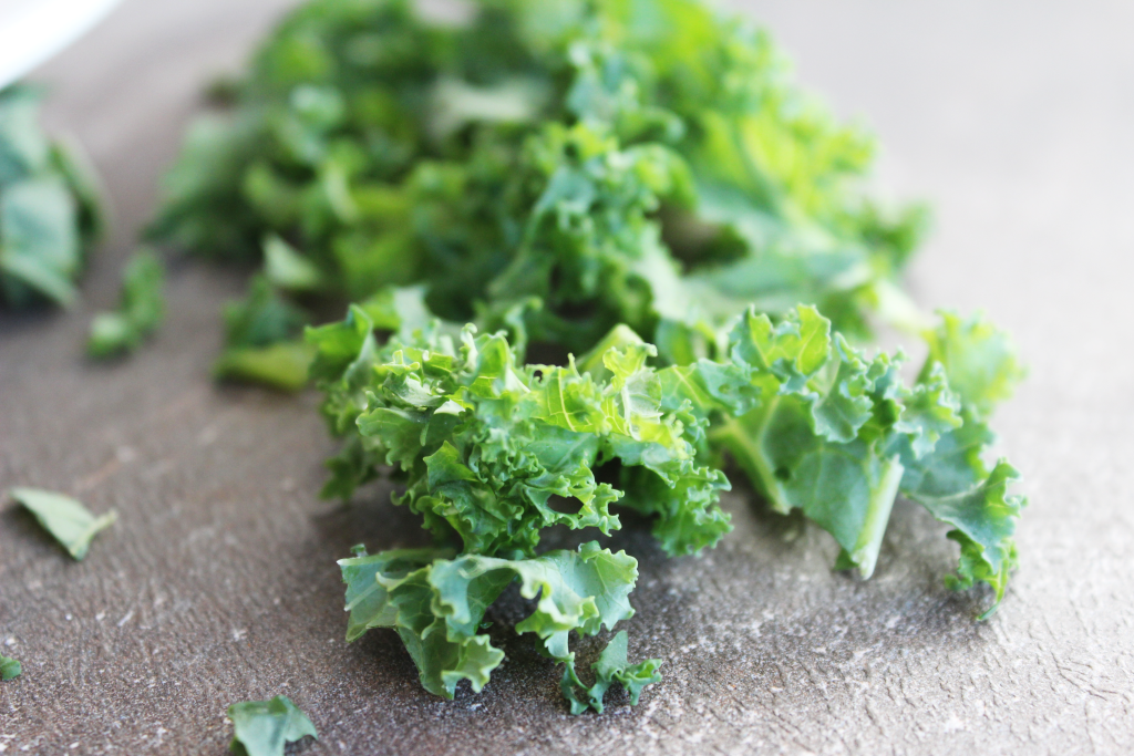 chopped kale, green leafy vegetable for spicy kale soup recipe.