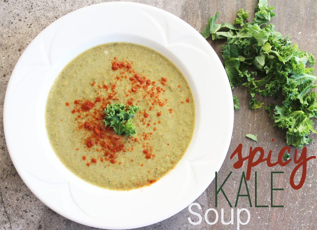 Round bowl of spicy kale soup recipe with fresh kale and cayenne pepper. Green leafy kale chopped.Base of potato and vegetable broth. Vegan, dairy free and gluten free. || Nikki's Plate