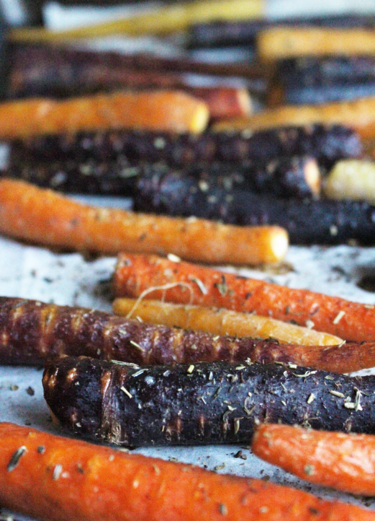 Rainbow Balsamic Carrots; Easy and healthy side dish with balsamic, parsley and rosemary flavours. Vegan and gluten free
