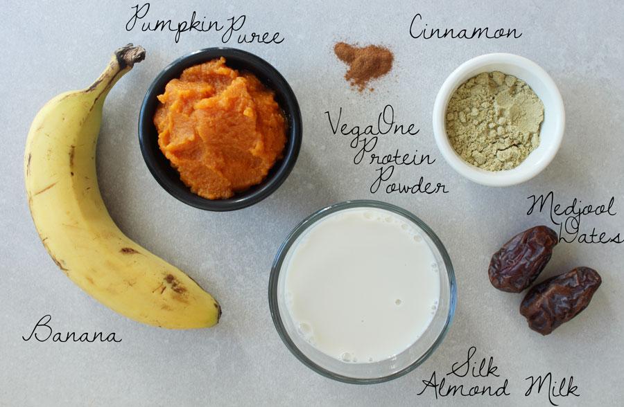 Vegan Pumpkin Pie Protein Smoothie ingredients