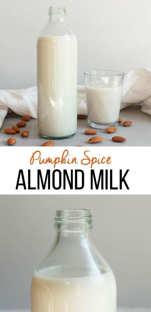 Pumpkin Spice Almond Milk; vegan, dairy free, gluten free homemade. Milk alternative. Spiced for the fall season! Bring on autumn.