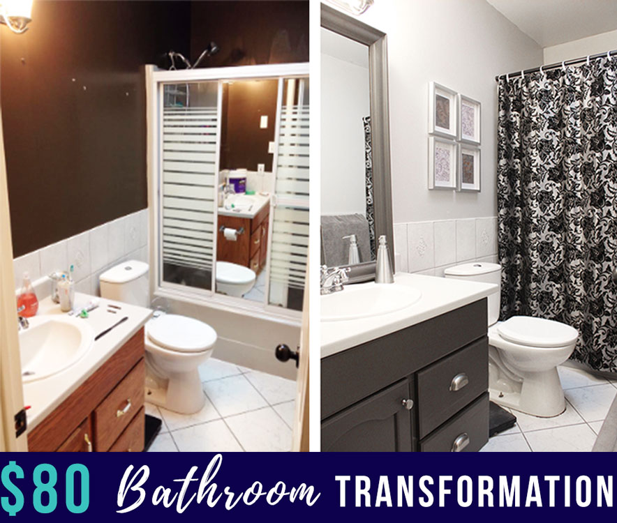 Here's how we updated our old and outdated bathroom on an $80 budget!