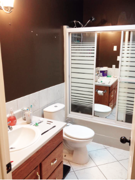 Our old bathroom had dark brown walls and outdated shower doors.