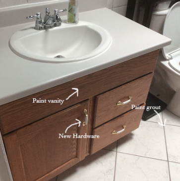 Our old bathroom vanity needed new hardware and we wanted to paint the wood.