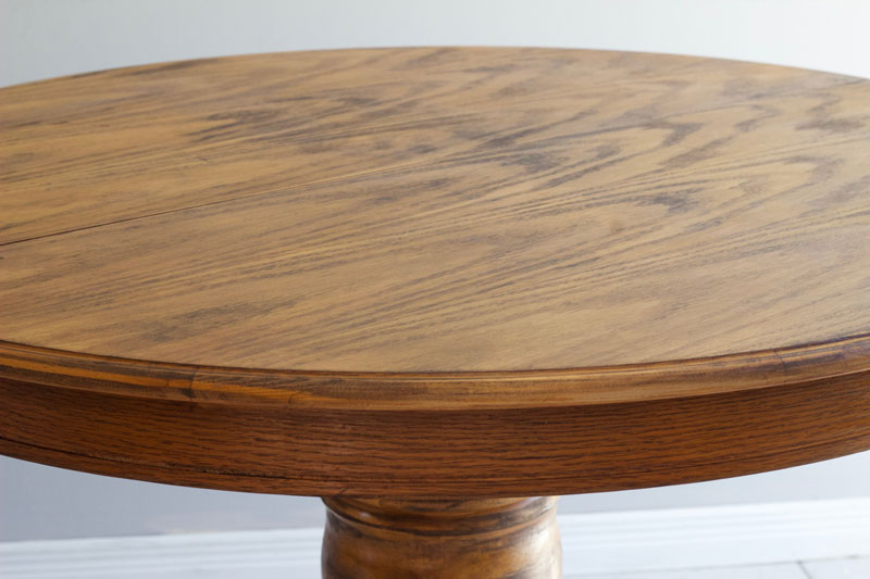 I love the rustic look of this refinished dining room table!