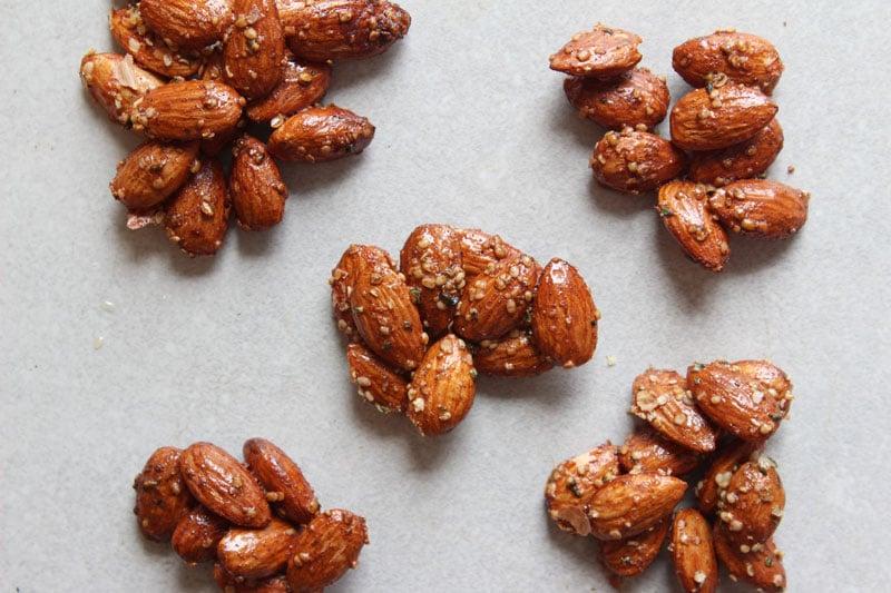 Clusters of Honey and Hemp Roasted Almonds - www.nikkisplate.com