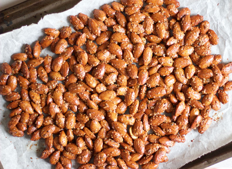 Solid clump of Honey and Hemp Roasted Almonds gluten free and dairy free snack dessert - www.nikkisplate.com