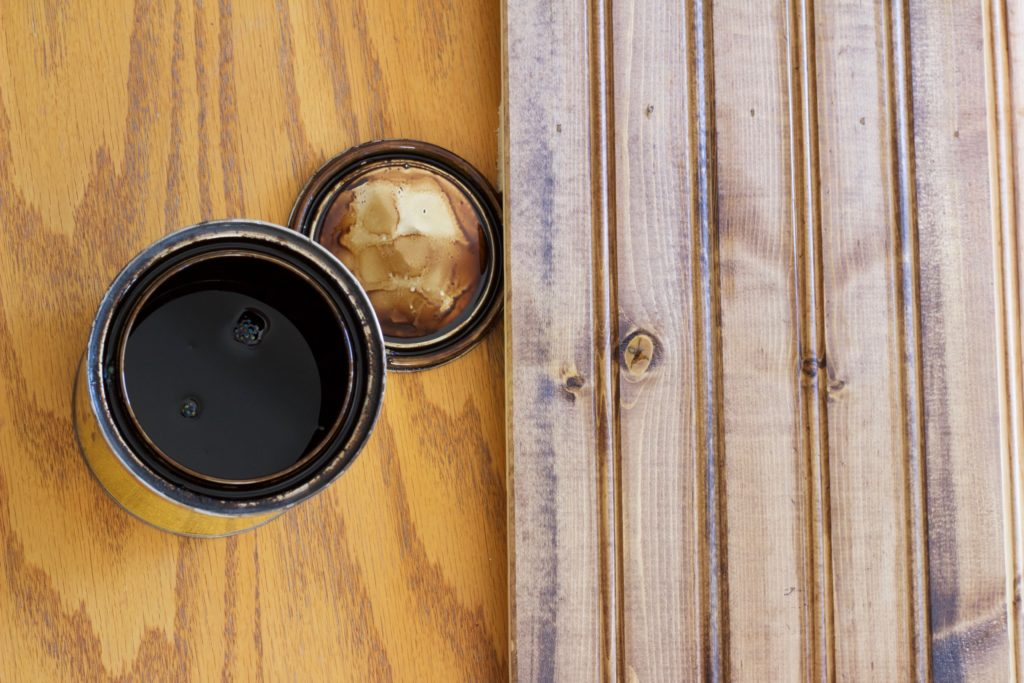 One coat of wood stain applied to my new wood food photography background