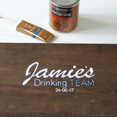 """DIY Personalized """"Bride's Drinking Team"""" Sign! Get everyone to sign it at the bachelorette party and then give it to her as a keep sake! - www.nikkisplate.com"""
