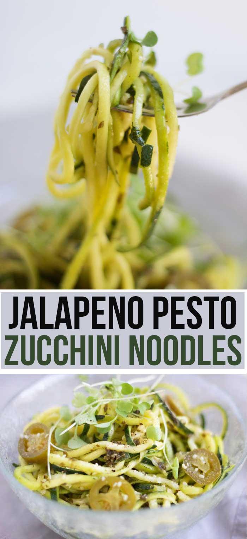 Jalapeno Pesto Zucchini Noodles - Nikki's Plate