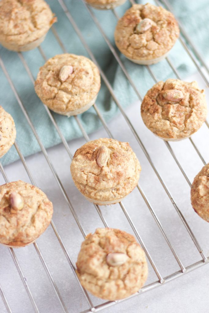 These pistachio protein muffins are a perfect breakfast for anyone who is on the go in the mornings