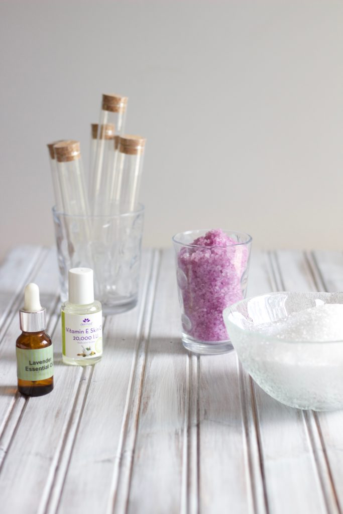 To make these DIY lavender epsom salts, you'll need epsom salt, lavender essential oil, and a container to package the salts in.