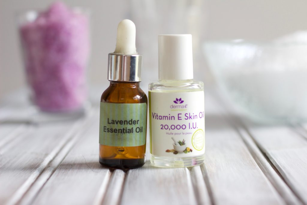 Lavender essential oil and vitamin E drops make these lavender epsom salts soothing and refreshing.