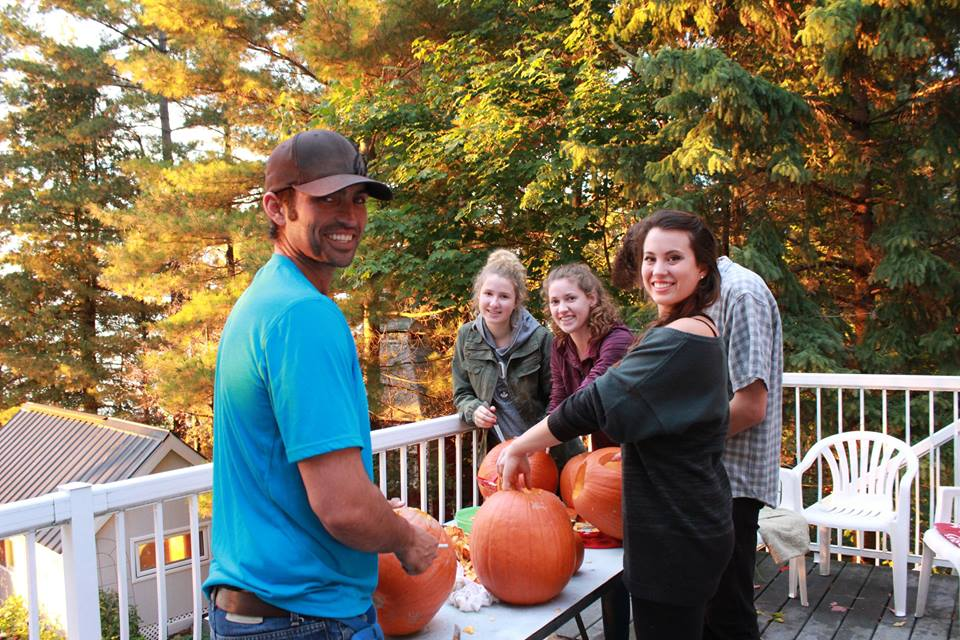 Getting ready to win at our pumpkin carving contest on the porch!