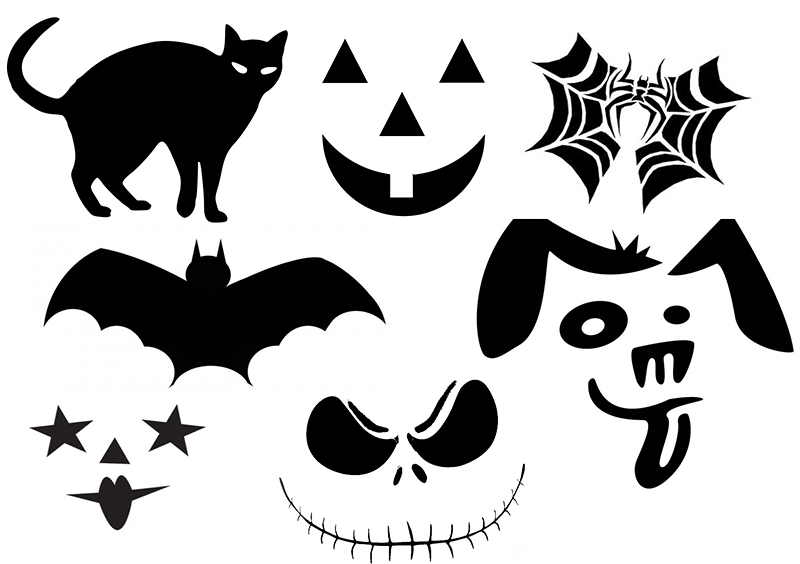 Spooky, cute, and traditional Halloween pumpkin stencils to use for pumpkins, decorations, or even face stencils.