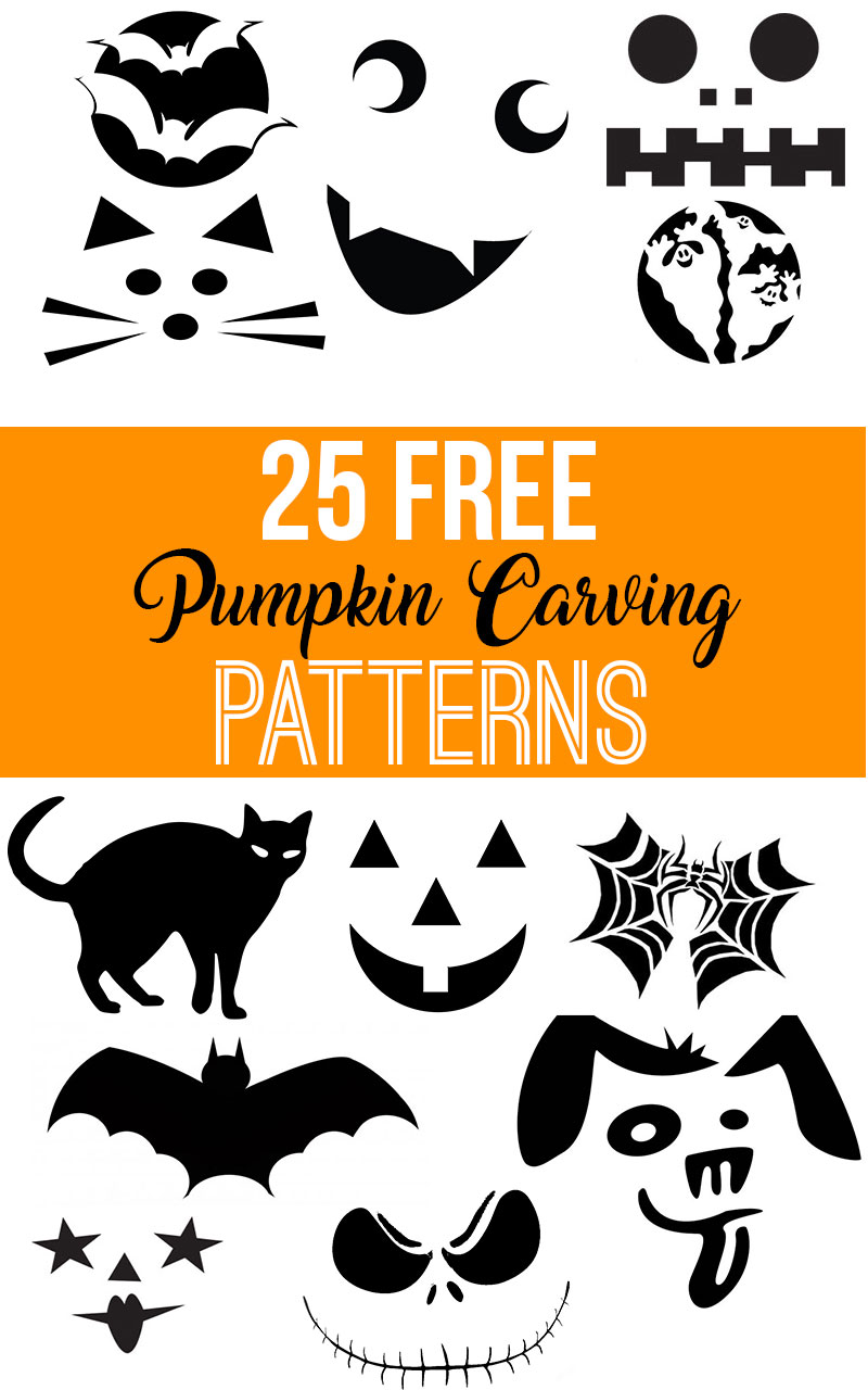 Download 25 FREE pumpkin carving patterns for your next pumpkin carving party!