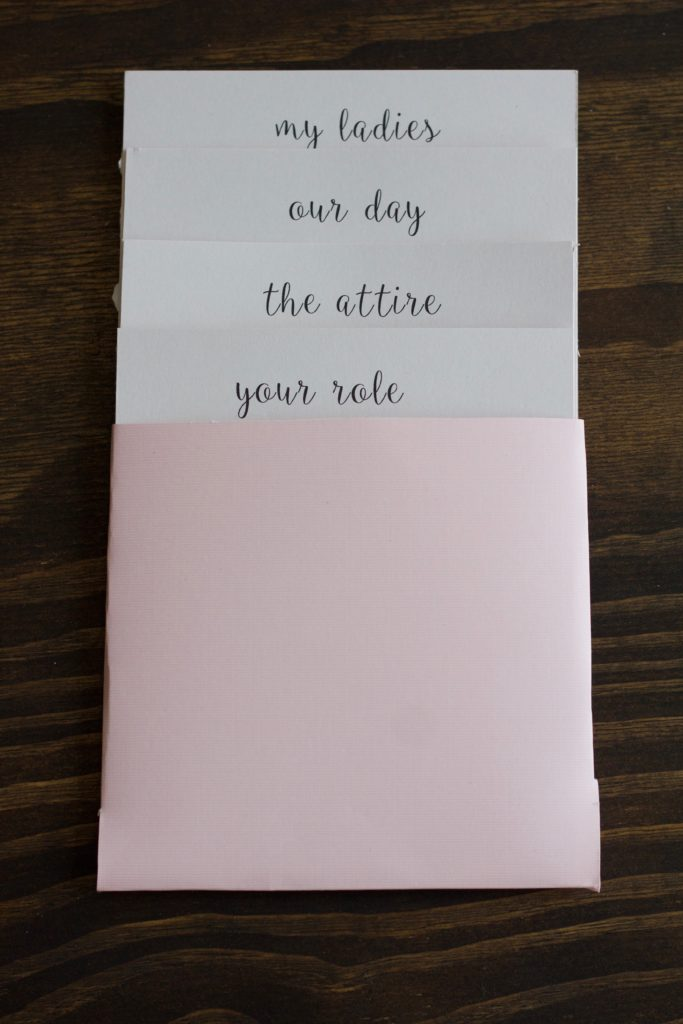 The bridesmaid proposal info card folder from the front should show the titles of each card