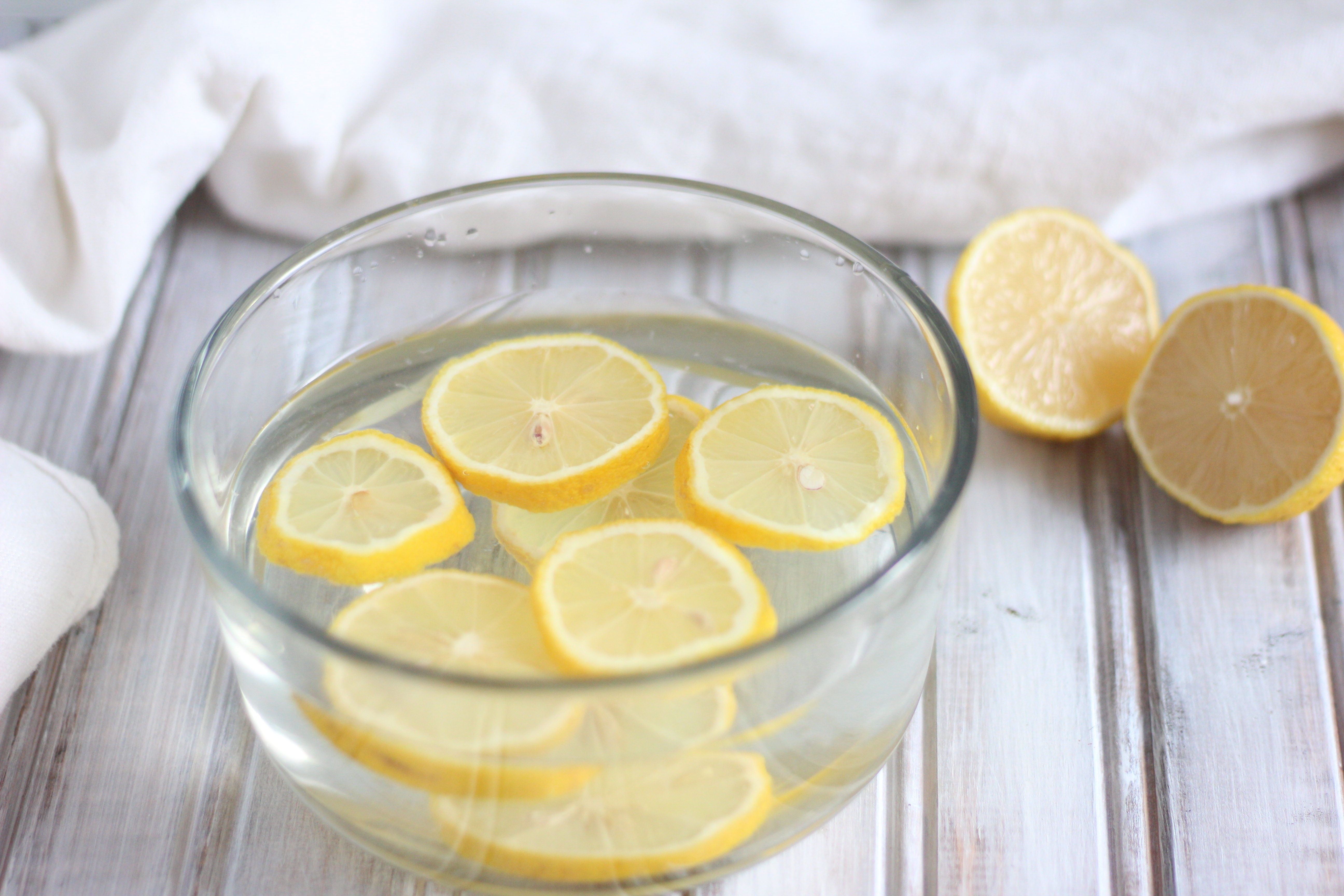 All natural lemon and water is a simple way to naturally clean your microwave with no chemicals