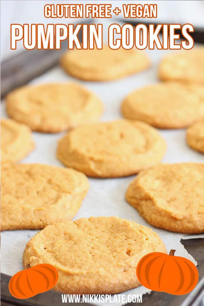 Healthy Gluten Free Pumpkin Cookies; easy bake pumpkin spice treat for the fall and halloween. Holiday dessert made with pumpkin puree and coconut sugar { white sugar free, vegan, GF} #pumpkincookies #fallbaking