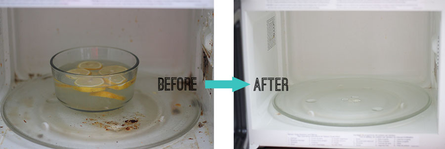 Before and after cleaning my microwave with an all natural microwave cleaning hack!