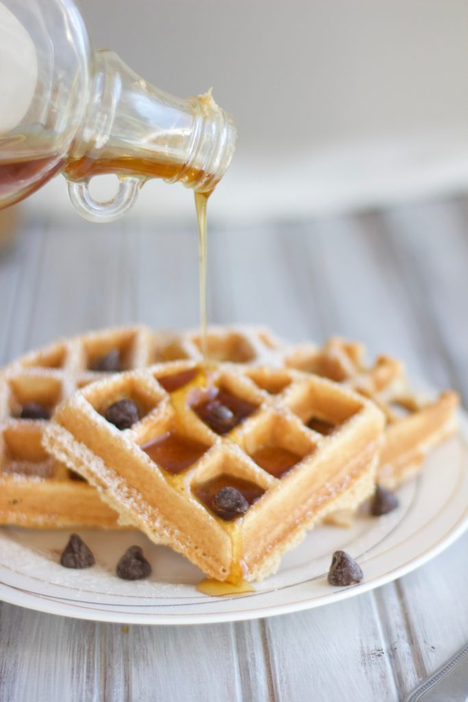 these fresh homemade dairy free waffles are best topped with warm maple syrup