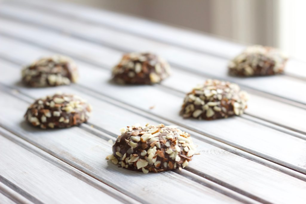 These chocolate dipped chestnut cookies are sweet and chewy, perfect for the holidays or a cookie exchange