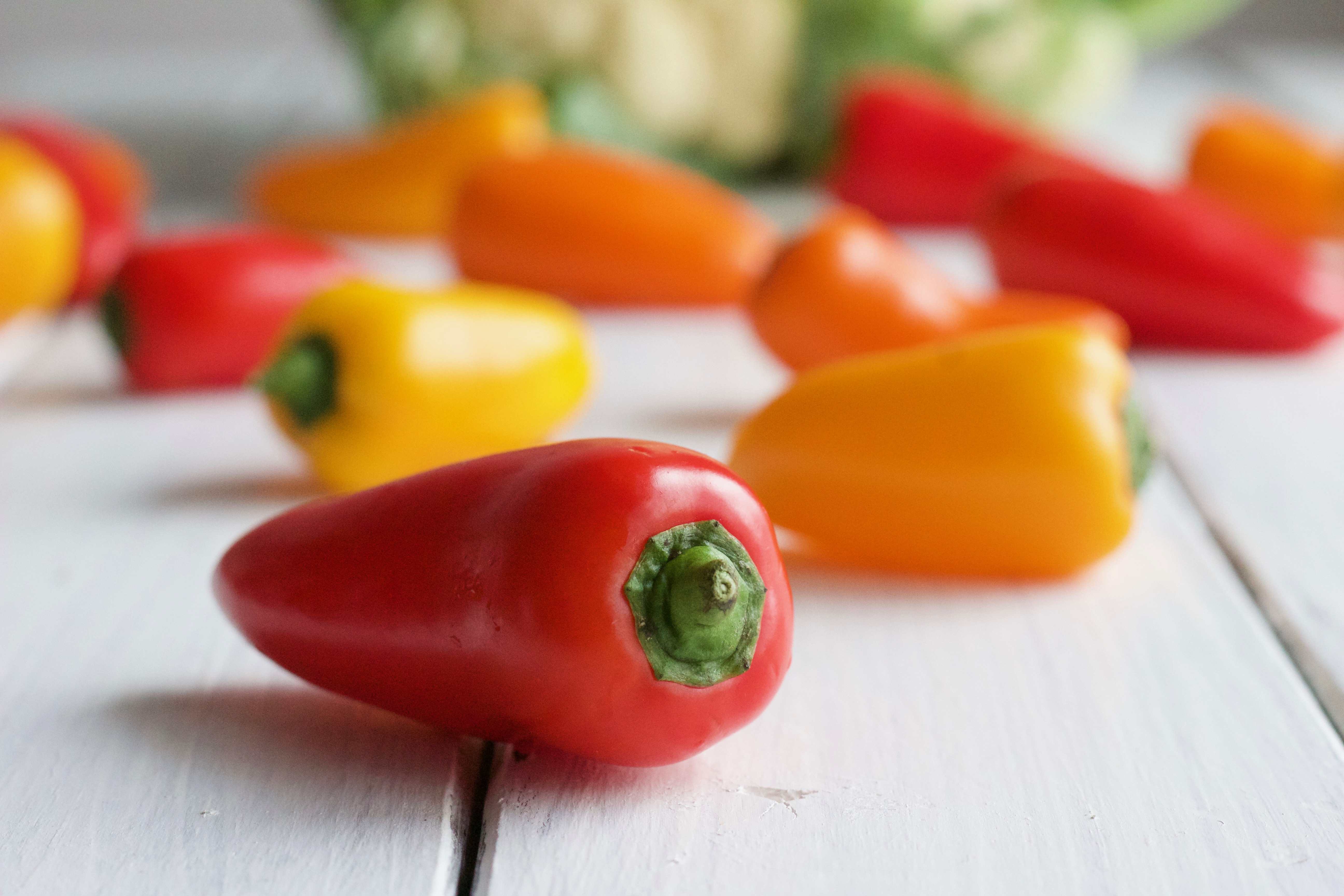 close up photo of a red Tribelli Pepper for this creamy cauliflower bake recipe