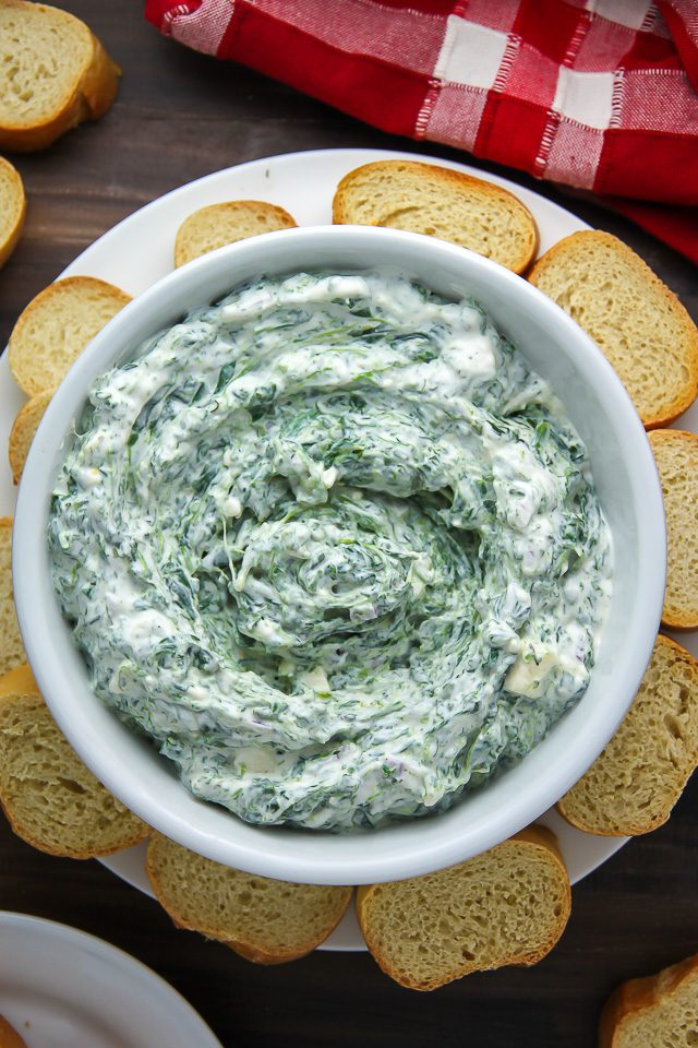 Greek yogurt spinach dip is a easy St. Patrick's Day Recipe for a party