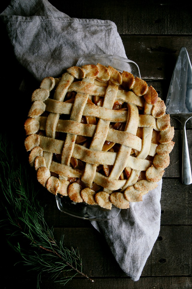 This salted caramel apple pie is made completely vegan, with a flaky crust and rich, sweet salted caramel apple filling