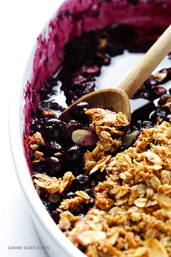This vegan blueberry crisp is perfectly sweet, tart, and crispy. It's perfect for a summer dessert