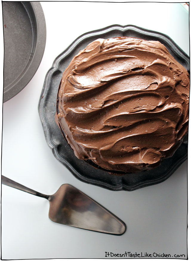 This vegan chocolate cake is as rich, moist, and decadent as the full-dairy version. This chocolate icing is a true guilty pleasure!