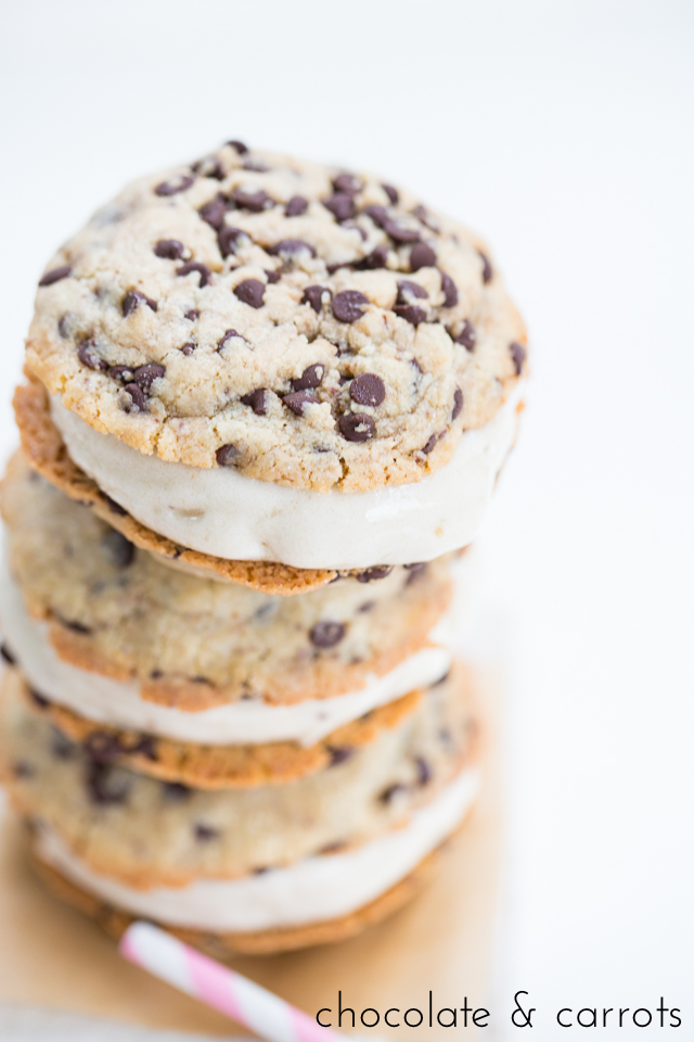 Creamy vegan vanilla ice cream sandwiched between fresh baked vegan chocolate chip cookies