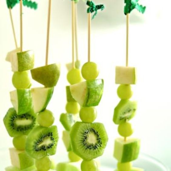These all green fruit skewers are a great healthy St. Patrick's Day treat