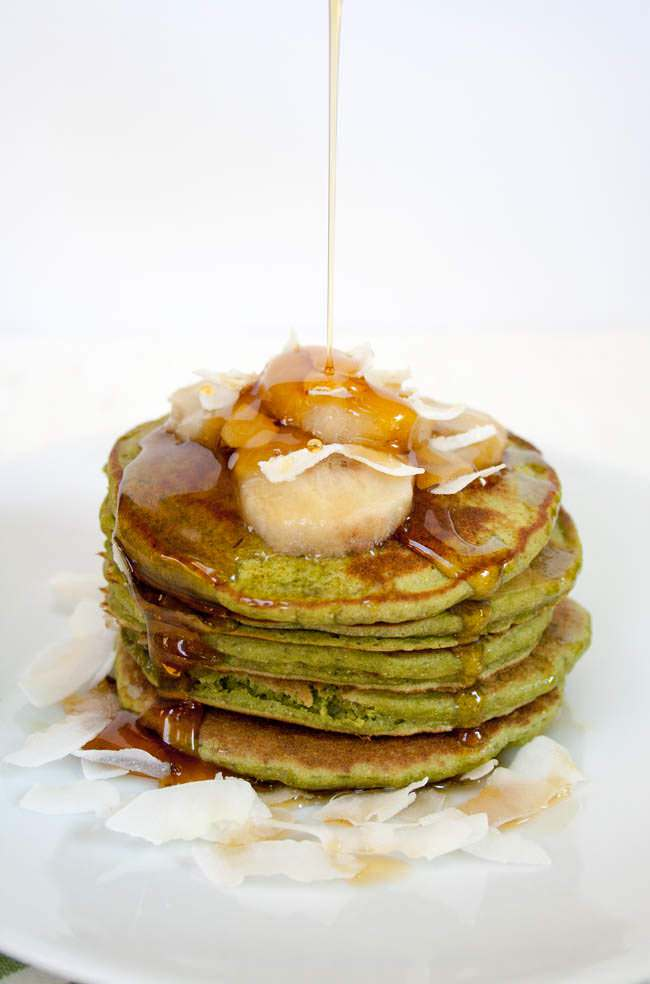 Matcha Banana Pancakes are a festive St. Patrick's Day Recipe that's healthy and filling