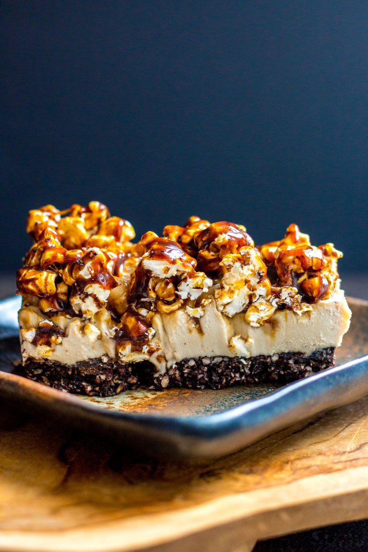 Diary-free coffee cheesecake topped with a sweet, crunchy salted caramel popcorn.
