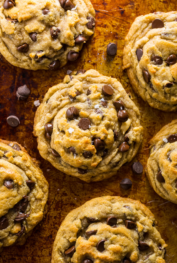 Classic chocolate chip cookies made completely vegan. Topped with flaky salt and more gooey vegan chocolate chips