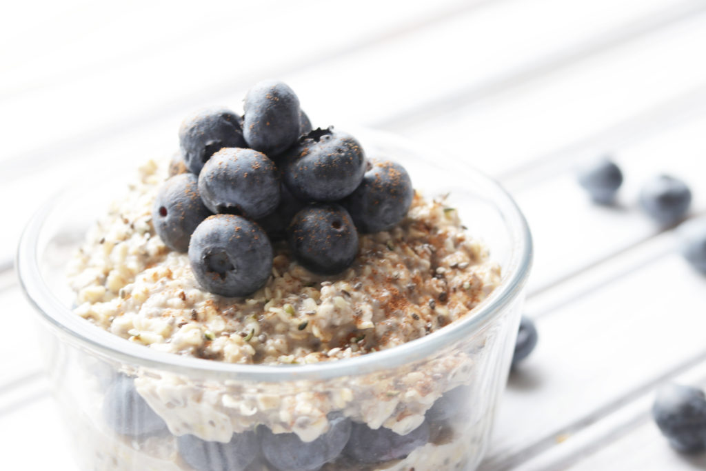 Vanilla blueberry overnight oats are packed with healthy ingredients that give you energy all day