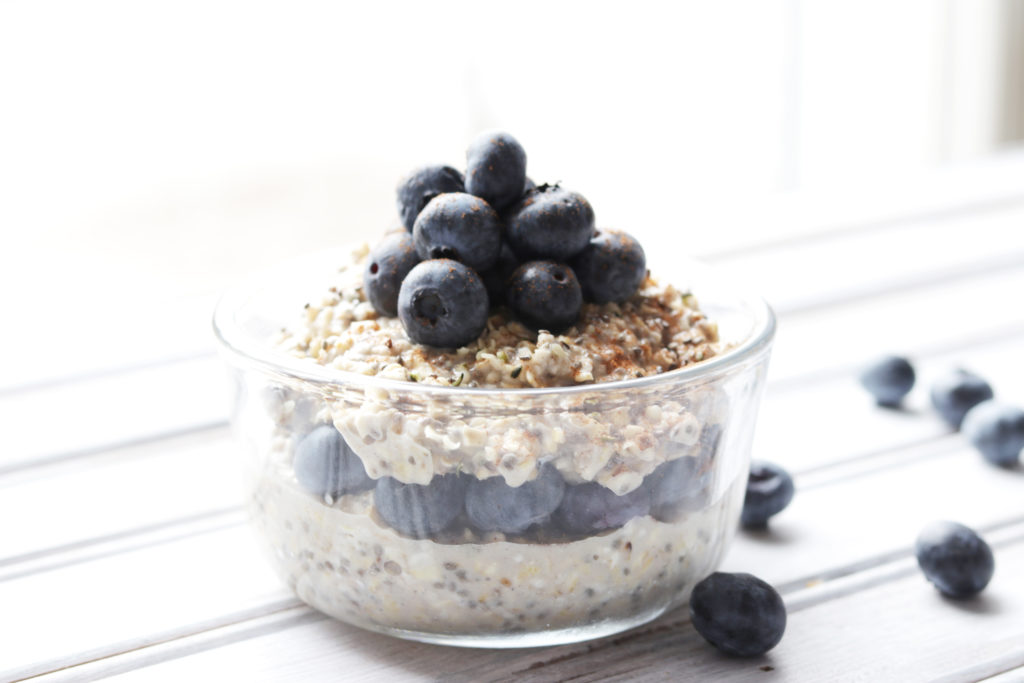 These creamy vanilla blueberry overnight oats are a quick and healthy breakfast for busy mornings