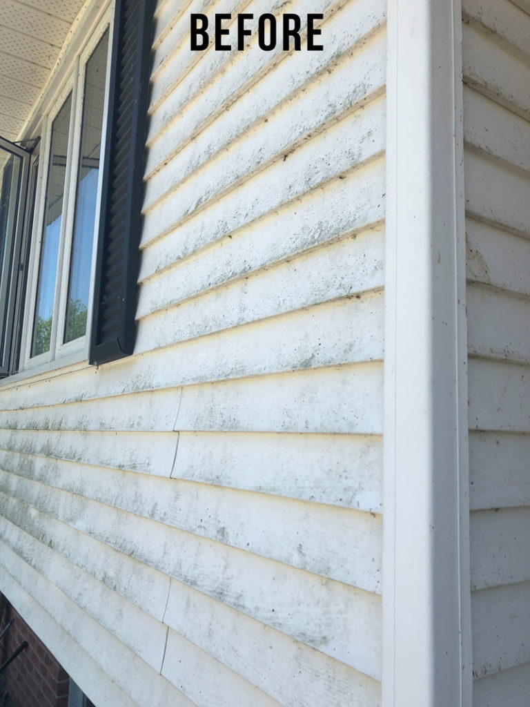 The dirt and build up on our vinyl siding was too much! Here's how we cleaned our vinyl home siding