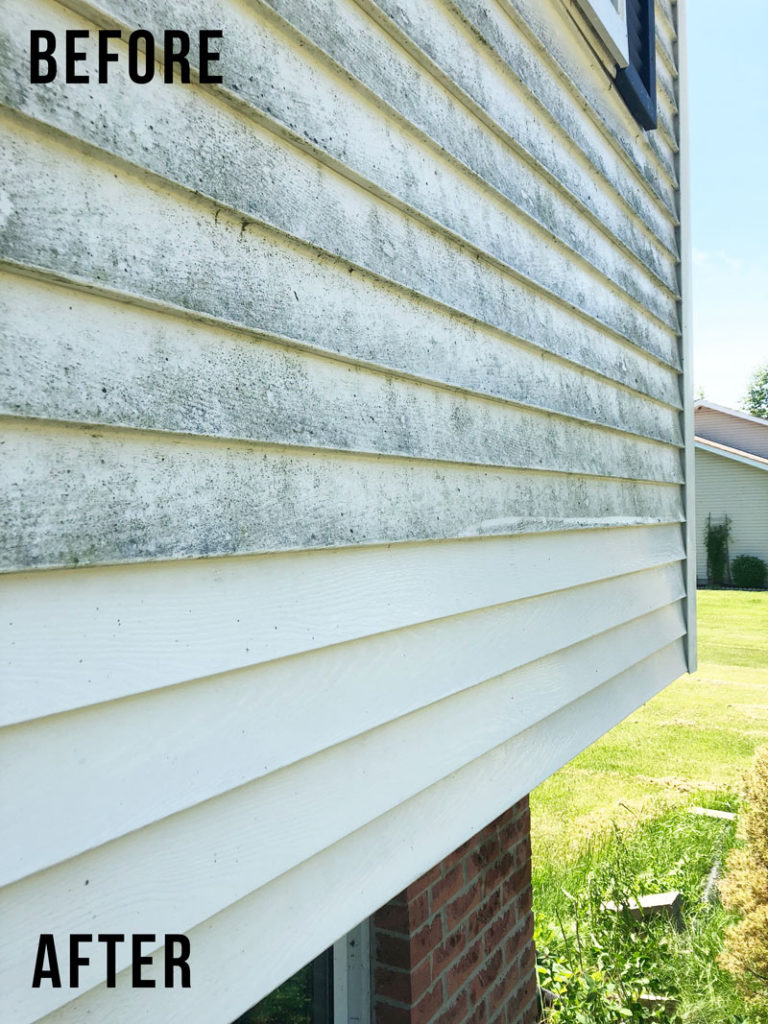The vinyl siding on our home was dirty and gross, so we cleaned the vinyl siding to make it look good as new