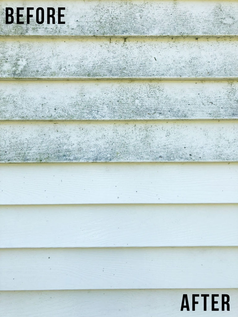 Here's a look at the before and after cleaning the vinyl siding on our home