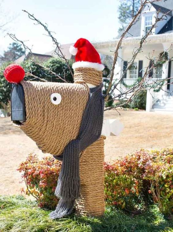 This Christmas mailbox is decorated to look like Rudolf the Red-Nosed Reindeer himself!