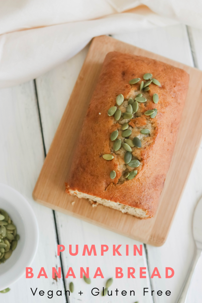 Pin image for Pumpkin Banana Bread {Vegan & GF}; a delicious fall, dairy and gluten free, bread for all pumpkin spice lovers! This autumn bread will be a winner in your house!|| Nikki's Plate www.nikkisplate.com