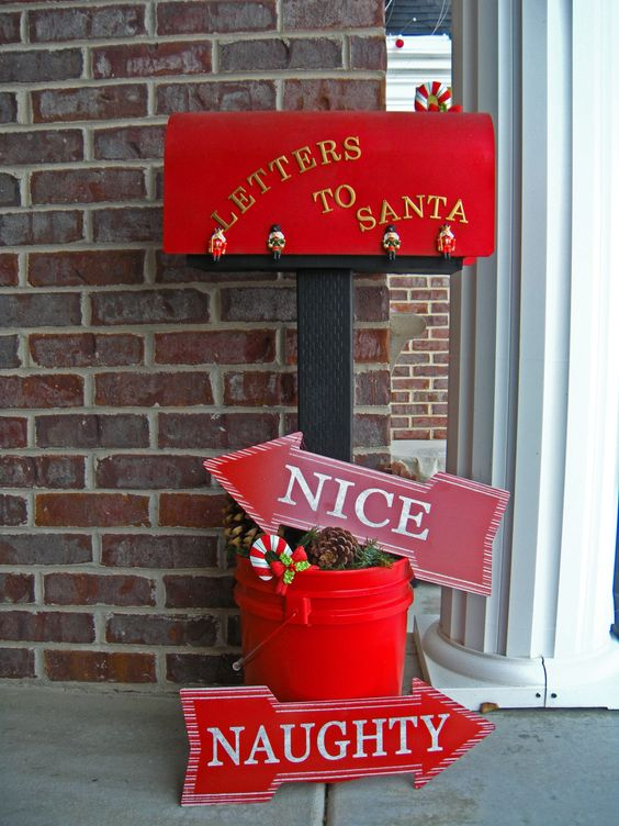 This Christmas mailbox is all ready to deliver letters to santa, with cute Naughty and Nice signs