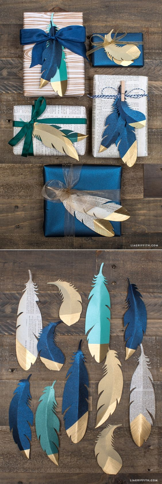 This gift wrap is perfect for any season, with colorful gold-tipped paper feathers and ribbon