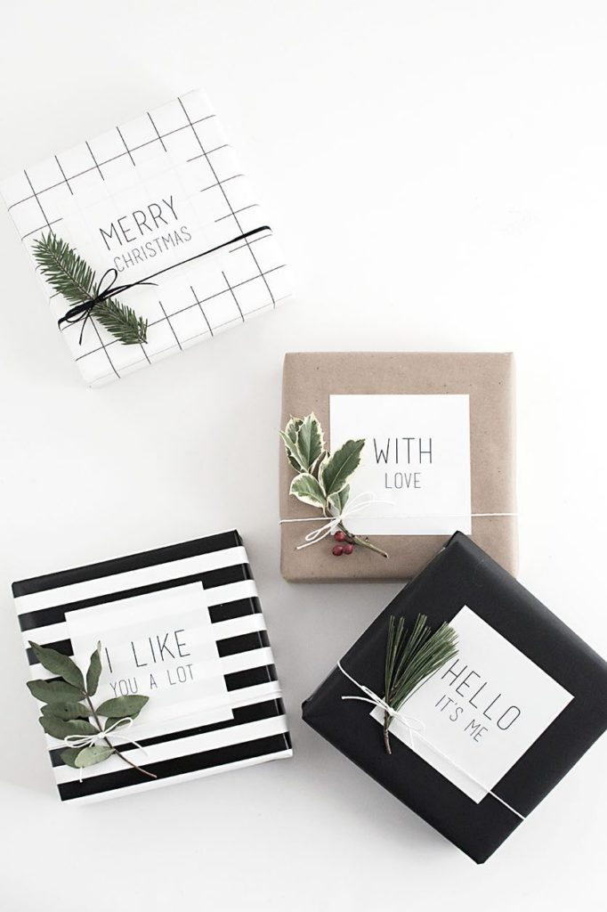 This pretty gift wrapping is simple black and white, but with some green pops of color. I love the simple stripes and checkers