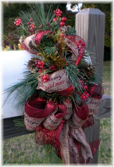 A simple Christmas mailbox with a festive pine wreath is an easy way to decorate your mailbox