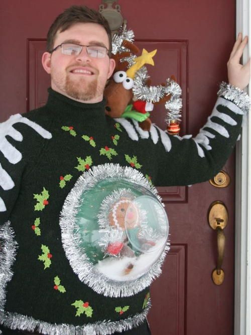 This ugly Christmas sweater has a snowglobe scene with a festive gingerbread man and plenty of sparkle